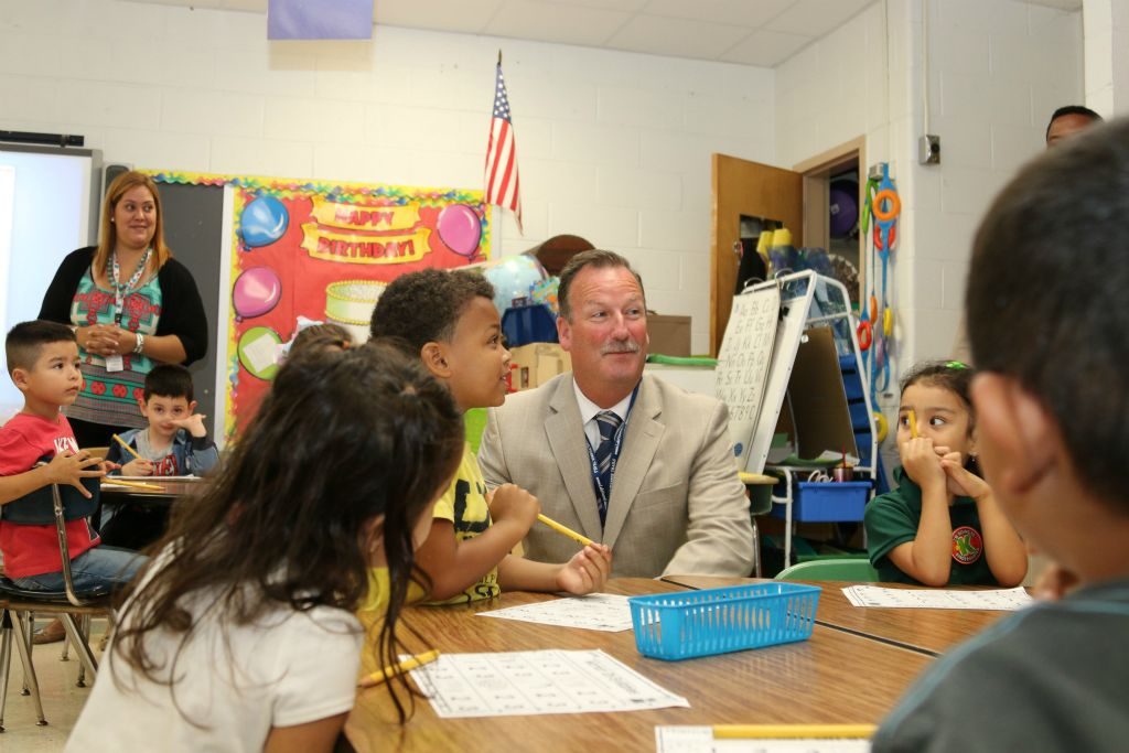Mr. Loeschner visiting Hemlock Park Elementary School.