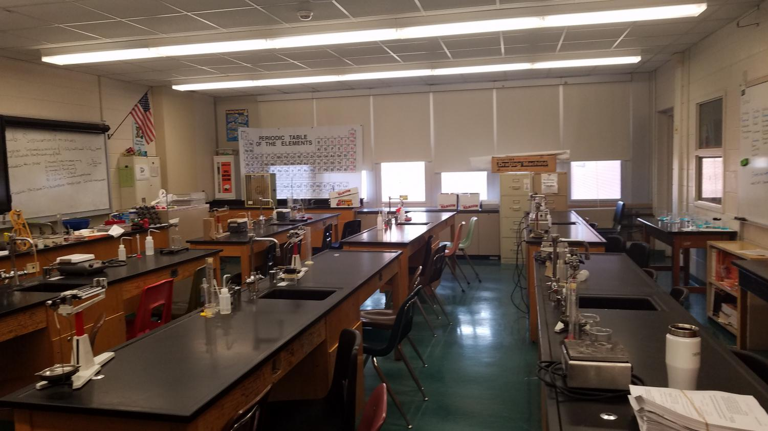 A science lab is set and ready for students