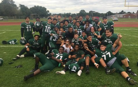 brentwood varsity football team after a huge win against CI