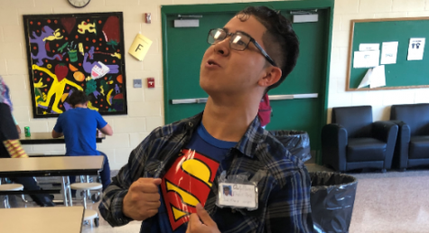 Student dresses as Clark Kent (Superman) for unofficial Character Day.