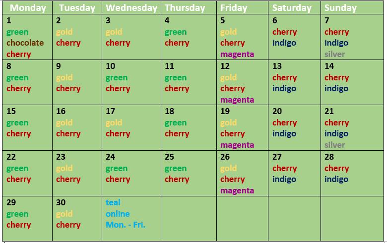 Crayola Schedule